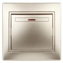 1-102-04 Intro Выключатель с подсветкой, 10А-250В, IP20, СУ, Plano, шампань (10/200/2400)