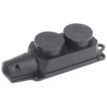 K-2e-IP44 ЭРА Колодка 2гн, c заземл., каучук, IP44 (10/60/1080)