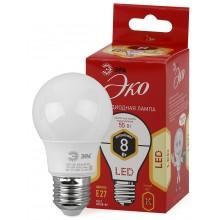 ECO LED A55-8W-827-E27 ЭРА (диод, груша, 8Вт, тепл, E27) (10/100/2000)