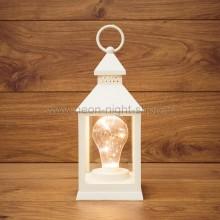 Декоративный фонарь с лампочкой, белый корпус, размер 10,5х10,5х24 см. цвет теплый белый