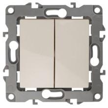 12-1004-02 ЭРА Выключатель двойной, 10АХ-250В, IP20, без м.лапок, Эра12, слоновая кость (10/100/3000)