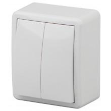 11-1204-01 ЭРА Выключатель двойной, 10АХ-250В, IP20, ОУ, Эра Эксперт, белый (16/160/3200)